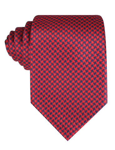 Scarlet Red Houndstooth Tie