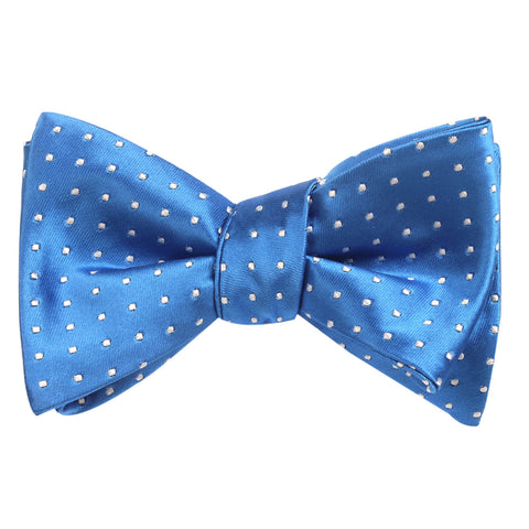 Sea Blue Bow Tie Untied with White Polka Dots