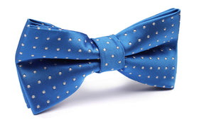 Sea Blue Bow Tie with White Polka Dots