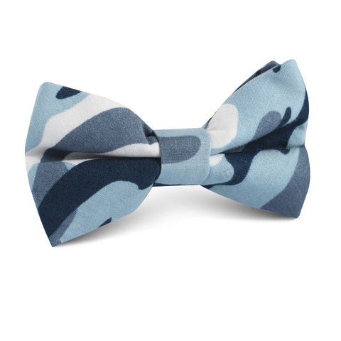 Sea Blue Camo Kids Bow Tie