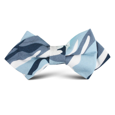 Sea Blue Camo Kids Diamond Bow Tie