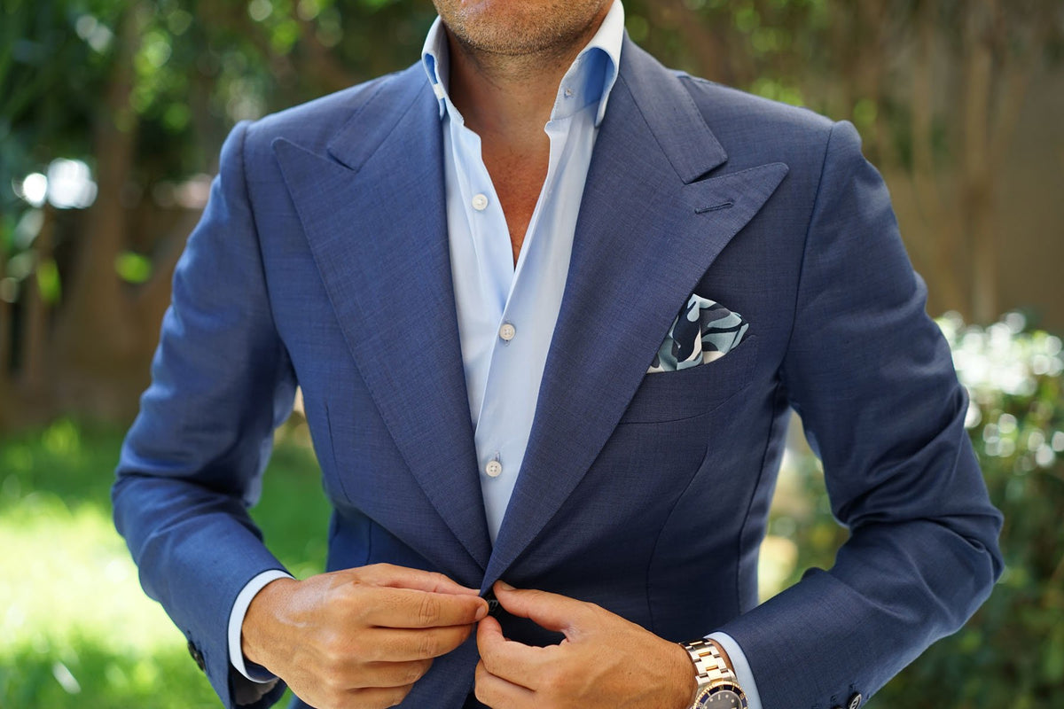 Sea Blue Camo Pocket Square