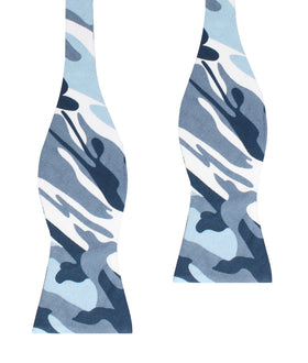 Sea Blue Camo Self Bow Tie