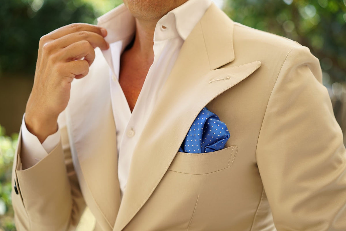 Sea Blue Pocket Square with White Polka Dots