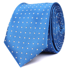 Sea Blue Skinny Tie with White Polka Dots