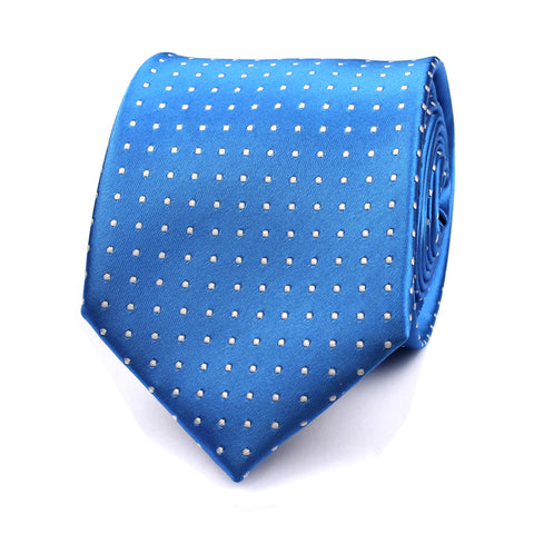 Sea Blue Tie with White Polka Dots