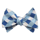 Sea and Light Blue White Checkered - Bow Tie (Untied) Self tied knot