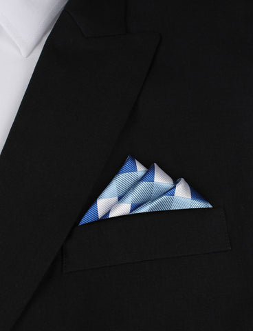 Sea and Light Blue White Checkered - Pocket Square