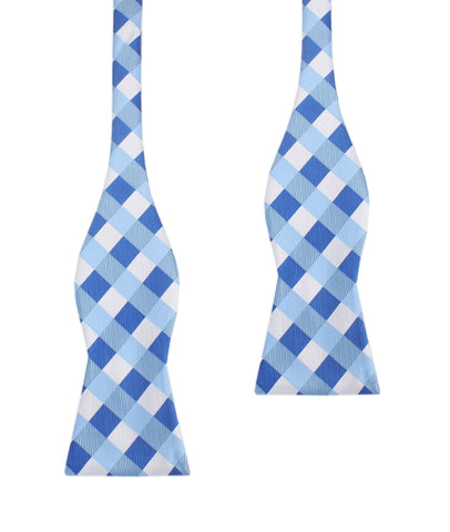 Sea and Light Blue White Checkered - Bow Tie (Untied)