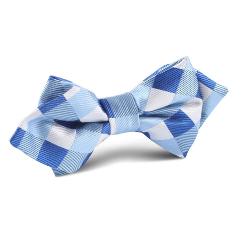 Sea and Light Blue White Checkered Diamond Bow Tie
