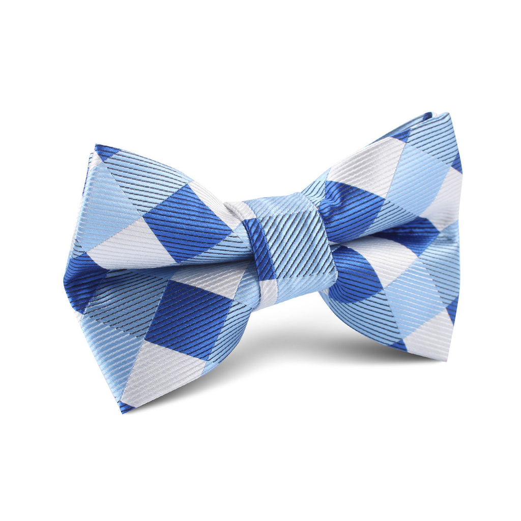 Sea And Light Blue White Checkered Kids Bow Tie Kid