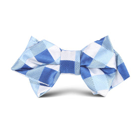 Sea and Light Blue White Checkered Kids Diamond Bow Tie
