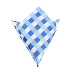 Sea and Light Blue White Checkered Pocket Square