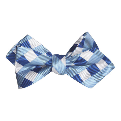 Sea and Light Blue White Checkered Self Tie Diamond Tip Bow Tie