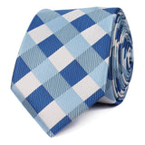 Sea and Light Blue White Checkered Skinny Tie OTAA roll