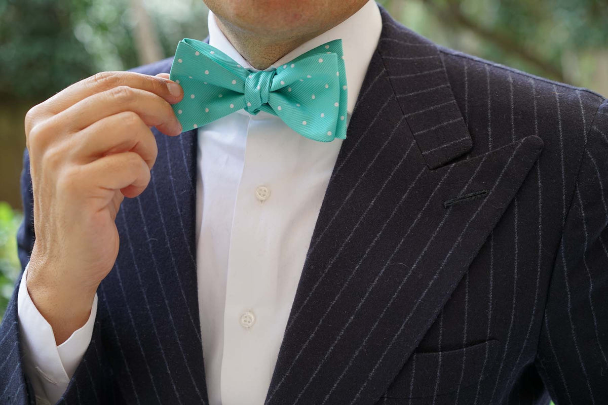 Seafoam Green with White Polka Dots Self Tie Bow Tie
