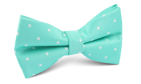 Seafoam Green with White Polka Dots Bow Tie