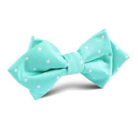 Seafoam Green with White Polka Dots Diamond Bow Tie