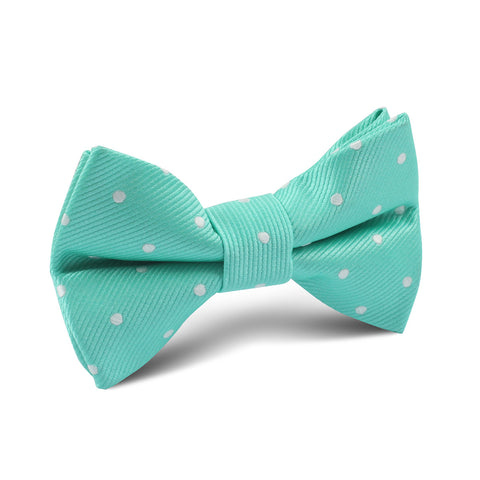 Seafoam Green with White Polka Dots Kids Bow Tie