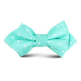 Seafoam Green with White Polka Dots Kids Diamond Bow Tie