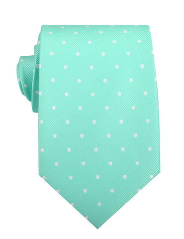 Seafoam Green with White Polka Dots Necktie