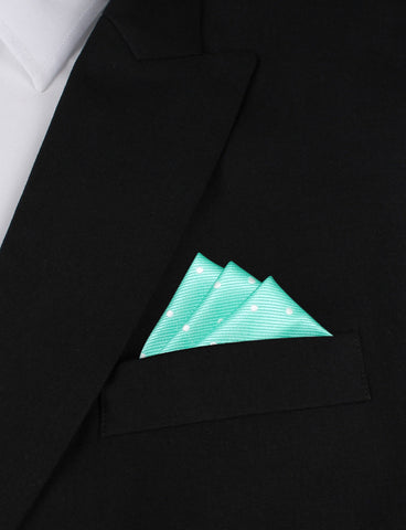 Seafoam Green with White Polka Dots Pocket Square