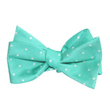 Seafoam Green with White Polka Dots Self Tie Bow Tie 1