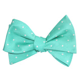 Seafoam Green with White Polka Dots Self Tie Bow Tie 2