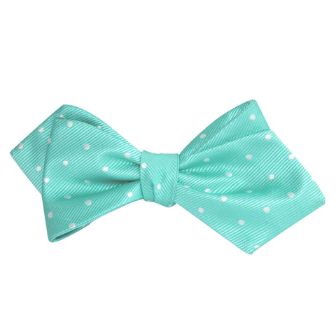 Seafoam Green with White Polka Dots Self Tie Diamond Tip Bow Tie