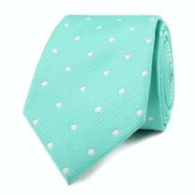 Seafoam Green with White Polka Dots Skinny Tie