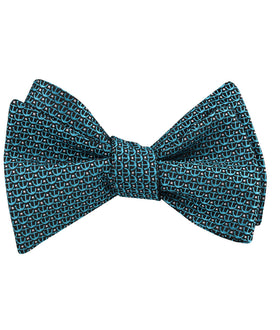 Seychelles Teal Anchor Self Bow Tie