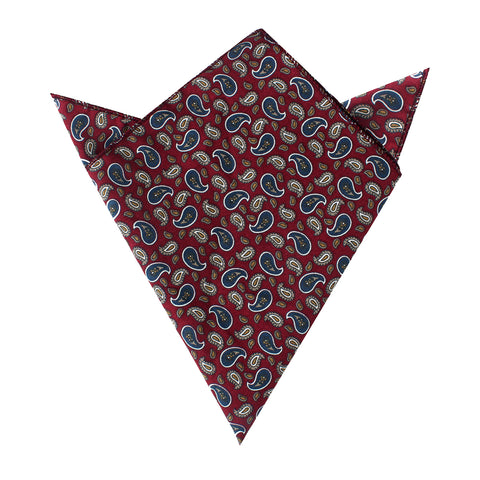 Shah of Iran Burgundy Paisley Pocket Square