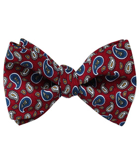Shah of Iran Burgundy Paisley Self Bow Tie