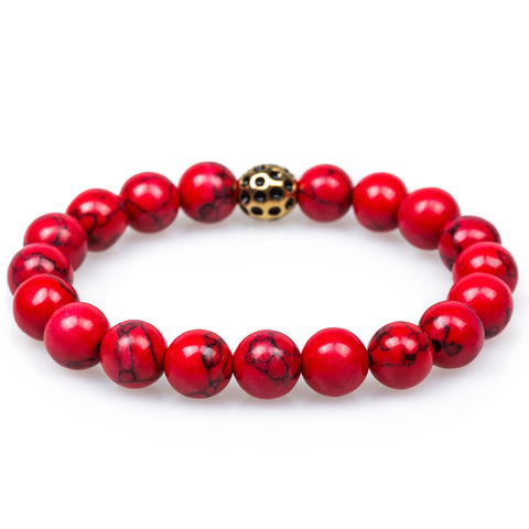 Shanks Red Turquoise Gold Lava Bracelet