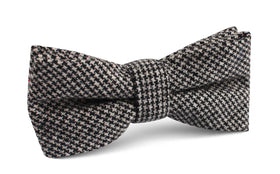 Sheepish Black Houndstooth Wool Bow Tie