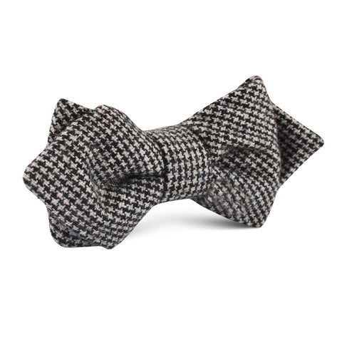 Sheepish Black Houndstooth Wool Diamond Bow Tie