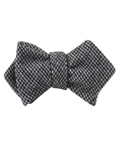 Sheepish Black Houndstooth Wool Diamond Self Bow Tie