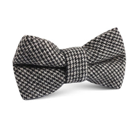 Sheepish Black Houndstooth Wool Kids Bow Tie