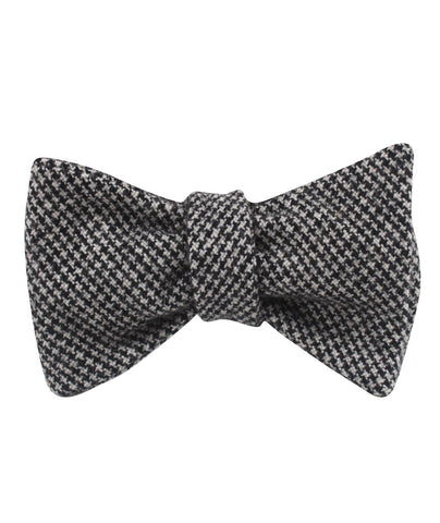 Sheepish Black Houndstooth Wool Self Bow Tie