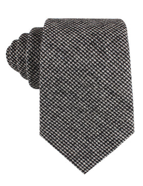 Sheepish Black Houndstooth Wool Tie
