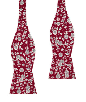 Shizuoka Merlot Red Floral Self Bow Tie
