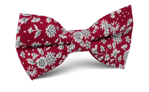 Shizuoka Merlot Red Floral Bow Tie