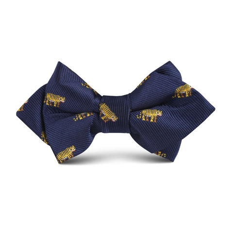 Siberian Tiger Kids Diamond Bow Tie