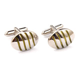 Silver Oval Green Pattern Cufflinks Double Front OTAA