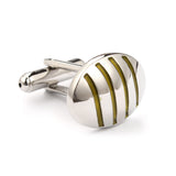 Silver Oval Green Pattern Cufflinks Middle OTAA