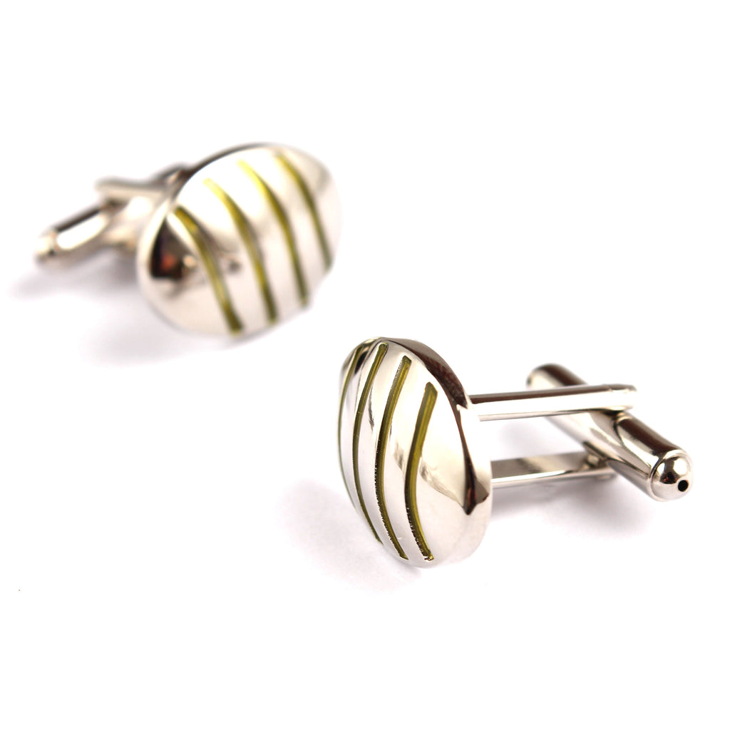 Silver Oval Green Pattern Cufflinks