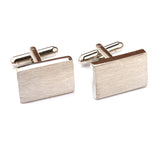 Silver Rectangle Brushed Finished Cufflinks