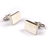Silver Rectangle Brushed Finished Cufflinks Front OTAA