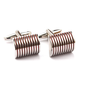 Silver Red Ribbed Cufflinks