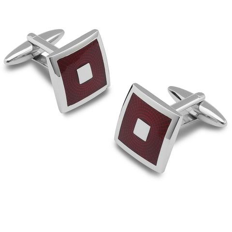 Drop of Silver Stainless Steel Square Cufflinks with Red Checkerboard Design